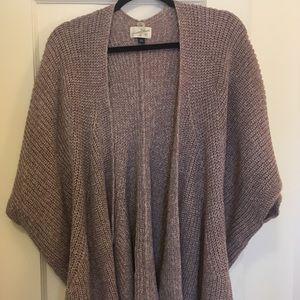 Short sleeved purple knit sweater shrug/wrap